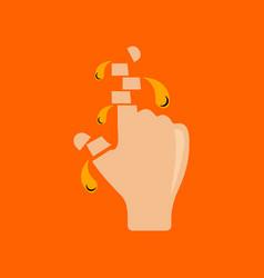 Flat icon stylish background cut fingers vector