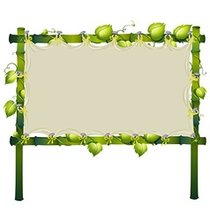 Frame made of bamboo with white cloth vector