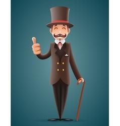 Gentleman victorian business cartoon character vector