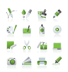 Graphic and web desing icons vector image vector image
