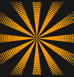Halftone background with orange rays vector