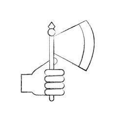 hand with ax weapon warrior game vector image