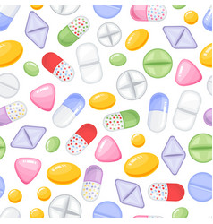 Heap of tablets and capsules seamless vector