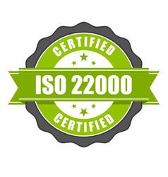 Iso 22000 standard certificate badge vector