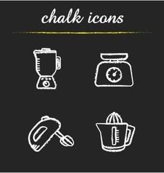 Kitchen tools chalk icons set vector image