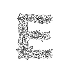 Letter E coloring book for adults vector image vector image