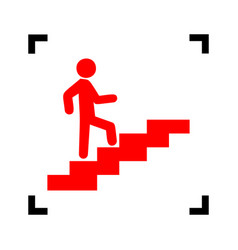 Man on stairs going up red icon inside vector