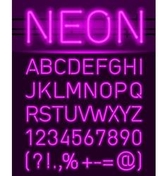 Neon font and symbols vector