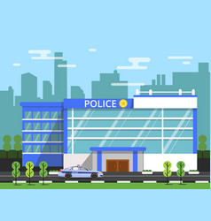 Police or security department exterior of vector