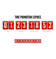 promotions expires analog flip clock timer vector image vector image