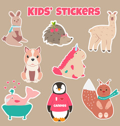 Set of cute kids stickers with different animals vector
