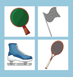 Set sport equipment icon vector