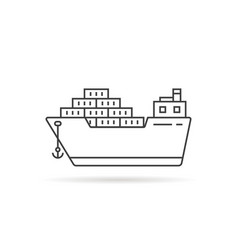 thin line cargo ship with shadow vector image