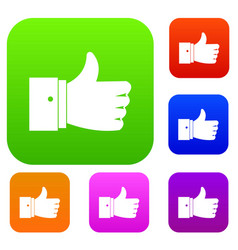 thumb up gesture set collection vector image