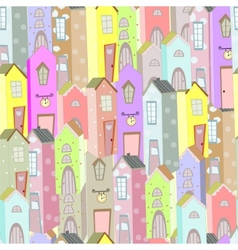 Town houses seamless pattern background vector image vector image