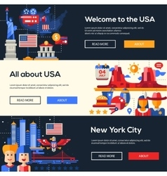 Traveling to the usa website headers banners set vector