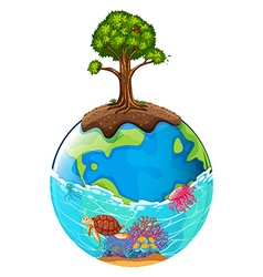 Tree and ocean on earth vector