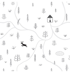 Treesdeer house seamless pattern vector