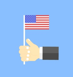 US flag in his hand vector image