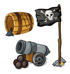 wooden barrel of gunpowder cannon and pirate flag vector image