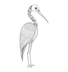 Zentangle hand drawn stork for adult antistress vector