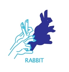 Shadow hand puppet rabbit vector