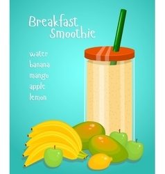 Lunch smoothie flat design concept vector