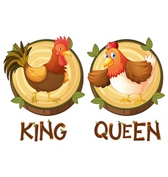 Chicken being king and queen vector image