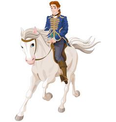 prince charming riding a horse vector image