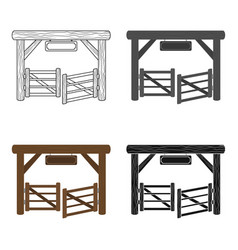 Paddock gate icon in cartoon style isolated on vector