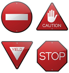 Stop caution yield do not enter signs vector
