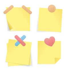 Yellow stick note paper set vector