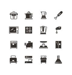 Kitchen appliances silhouette icons vector