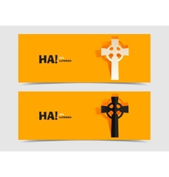 Set of two banners with carved grave cross vector