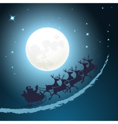 Santa on his sleigh christmas background vector