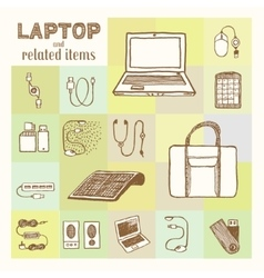 Laptop and related accessories vector