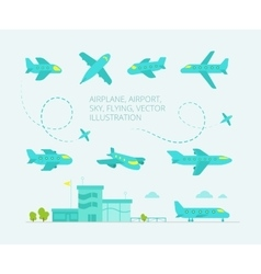 Set of painted planes vector image