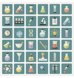 Big science and research web icons set vector