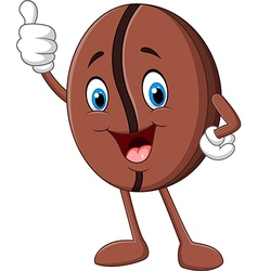 Cartoon funny coffee bean giving thumb up vector