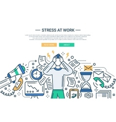 Stress at work - line flat design website banner vector