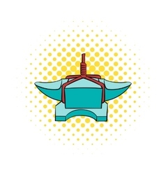 Anvil with rope icon comics style vector