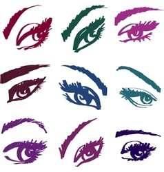 Beautiful girls eyes collection vector