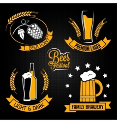 Beer glass bottle label set vector