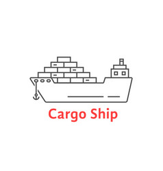 Black thin line cargo ship icon vector