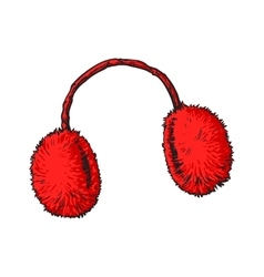 Bright red fluffy fur ear muffs vector