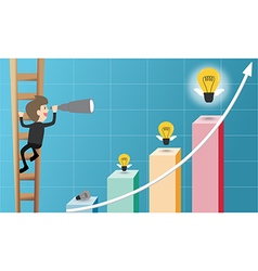 Businessman climb ladder and use telescope looking vector