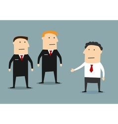 Businessman with guards on meeting vector image