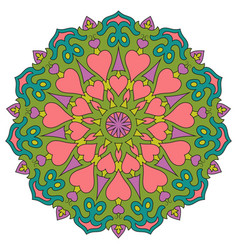 Colored mandala with hearts round symmetrical vector