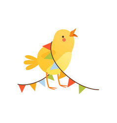Cute baby chicken entangled in party flags funny vector