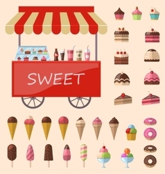Delicious sweets and ice cream icons set vector